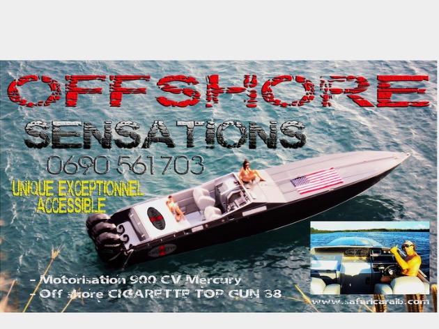 Offrez vous une journée inoubliable unique exceptionnel a bord d'un superbe et authentique Offshore Cigarette Top Gun 38 une journée de découverte des îles de la Guadeloupe. Marie Galante Les Saintes
