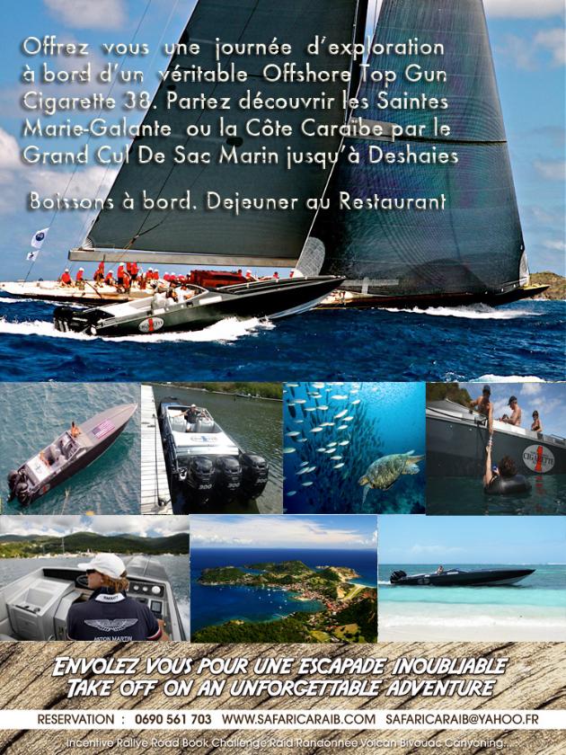 Réservez votre bateau offshore cigarette top gun 38 pour visiter les îles de la Guadeloupe